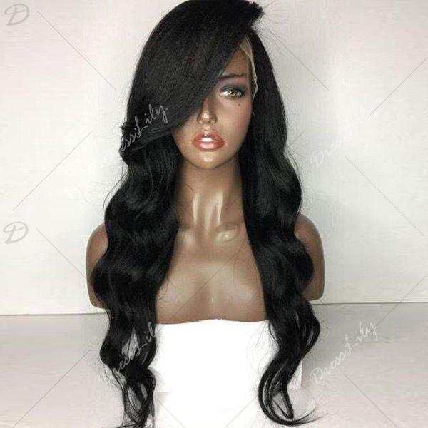Side Part Body Wave Long Lace Front Human Hair Wig - NATURAL BLACK