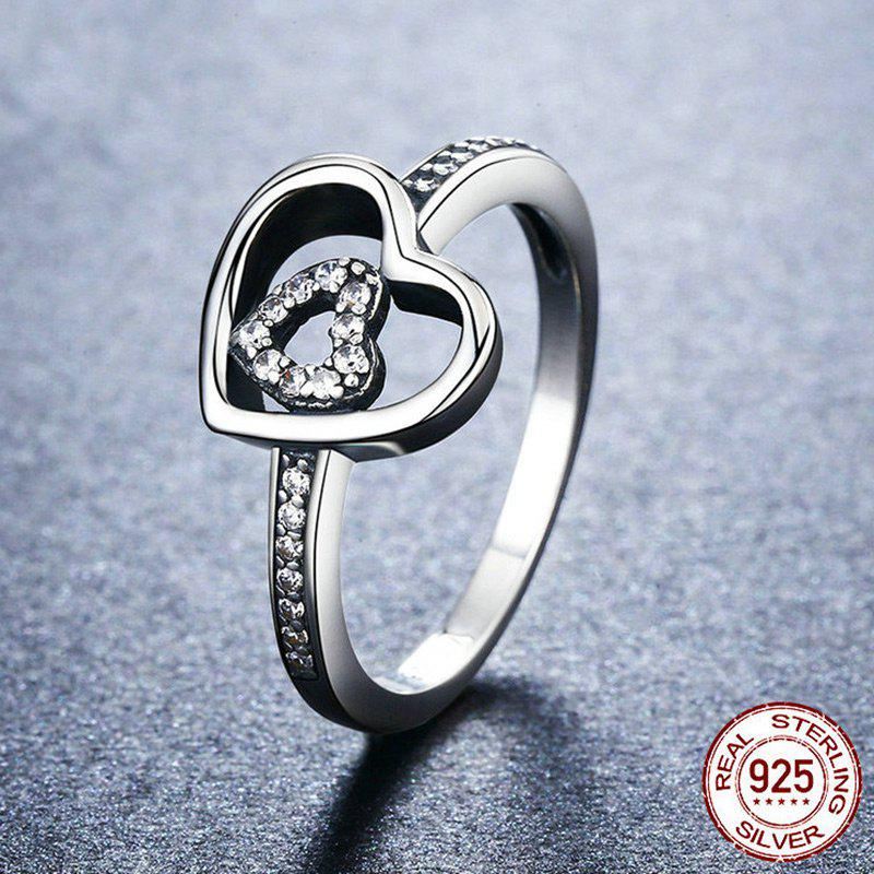 Rhinestone Sterling Silver Double Heart Ring - SILVER 7