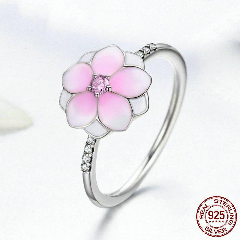 Rhinestone Flower Sterling Silver Ring - PINK 7