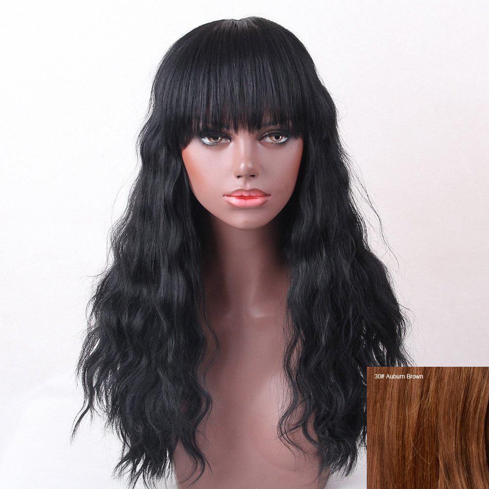 Full Bang Shaggy Natural Wave Long Human Hair Wig - AUBURN BROWN