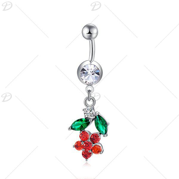 Floral Faux Diamond Embellished Belly Button Jewelry - BRIGHT RED