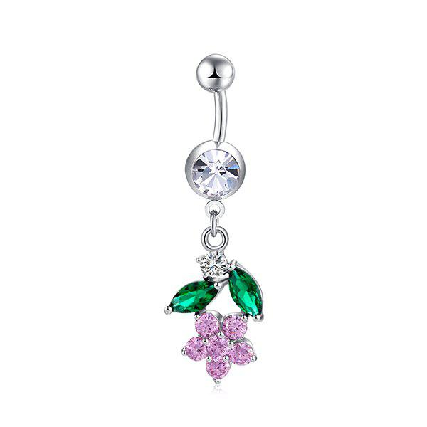 Floral Faux Diamond Embellished Belly Button Jewelry - PINK