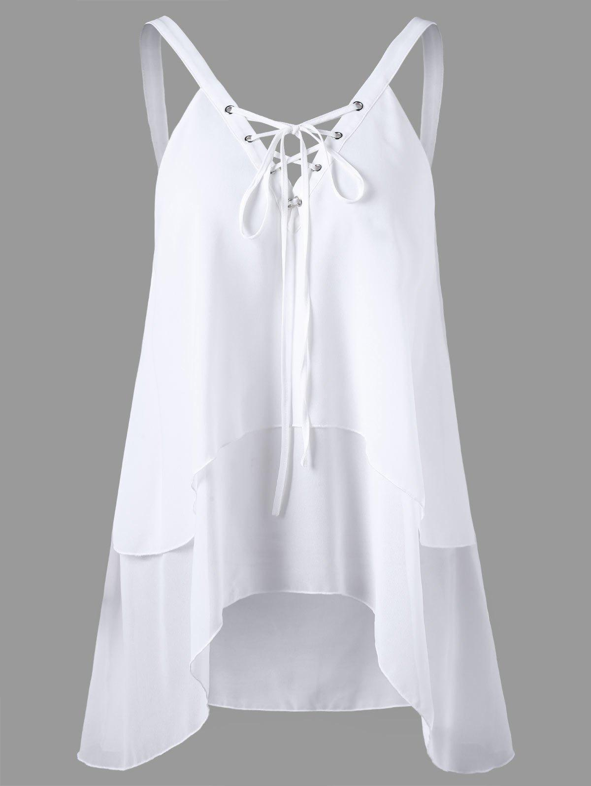 цены Criss Cross Front Layered Chiffon Sleeveless Blouse