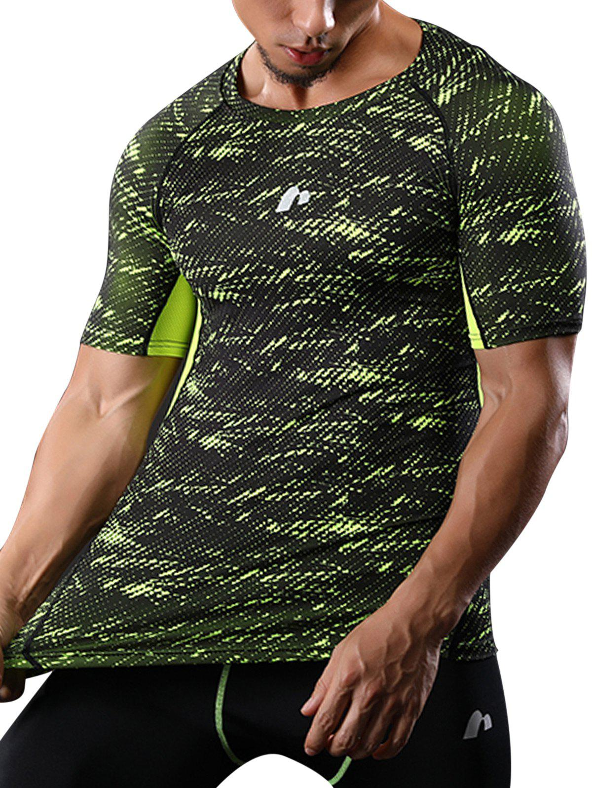Raglan Sleeve Quick Dry Camouflage Stretchy Gym T-shirt - GREEN M
