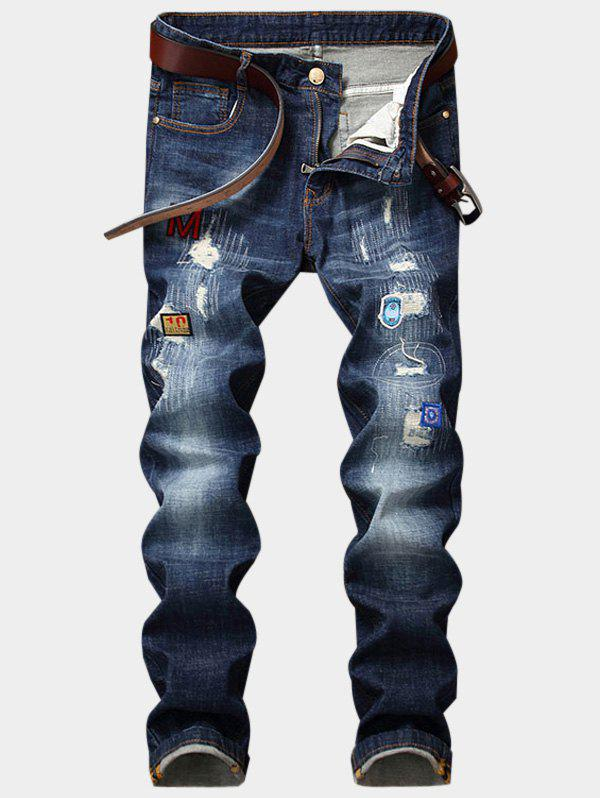 Embroidered Appliques Zipper Fly Ripped Jeans