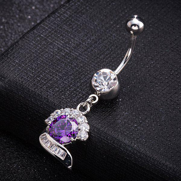 Artificial Gem Inlay Navel Button - PURPLE