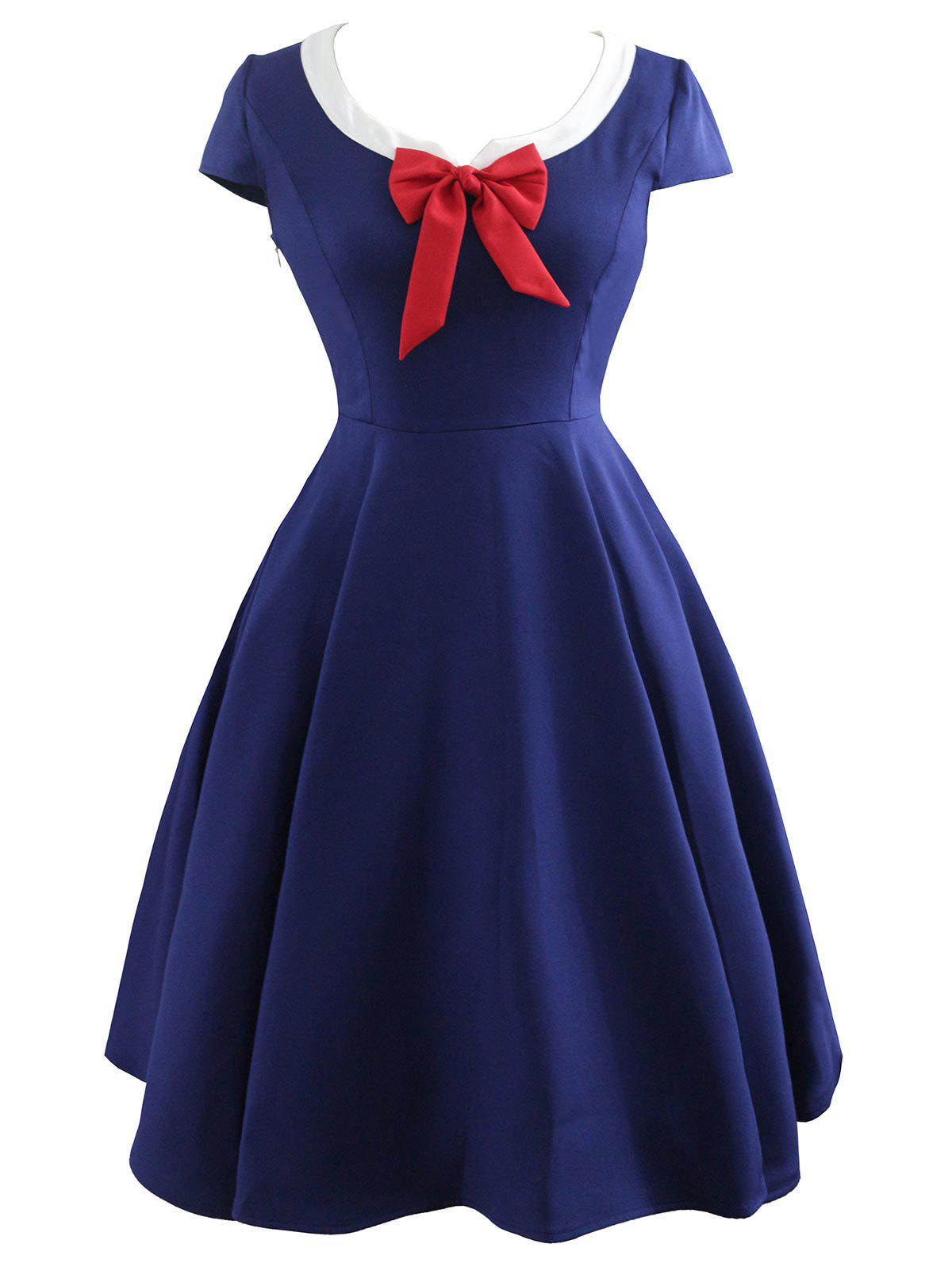 Vintage Bowknot Fit and Flare Dress - PURPLISH BLUE XL