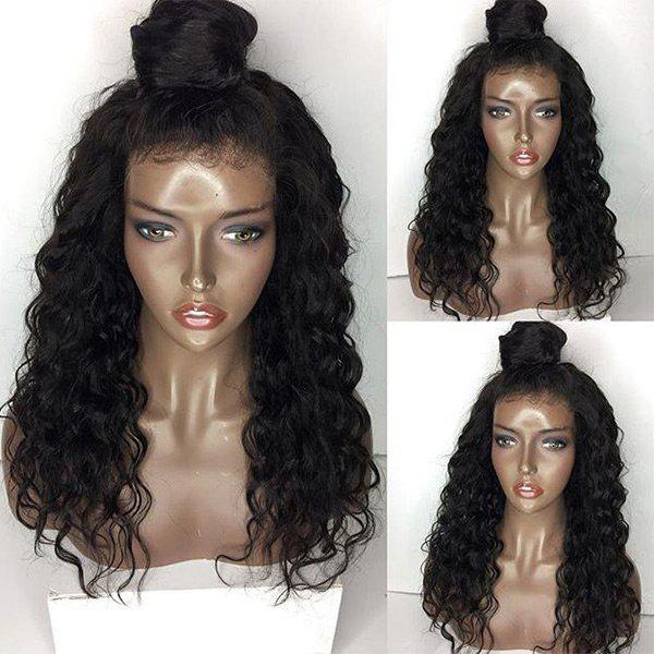 Free Part Shaggy Body Wave Long Lace Front Human Hair Wig - NATURAL BLACK