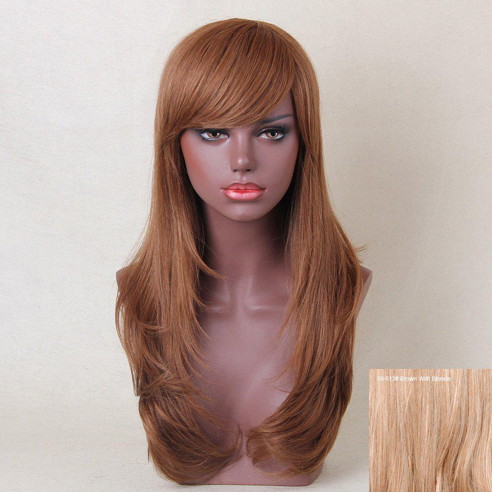 Long Inclined Bang Layered Tail Adduction Straight Human Hair Wig - BROWN/BLONDE