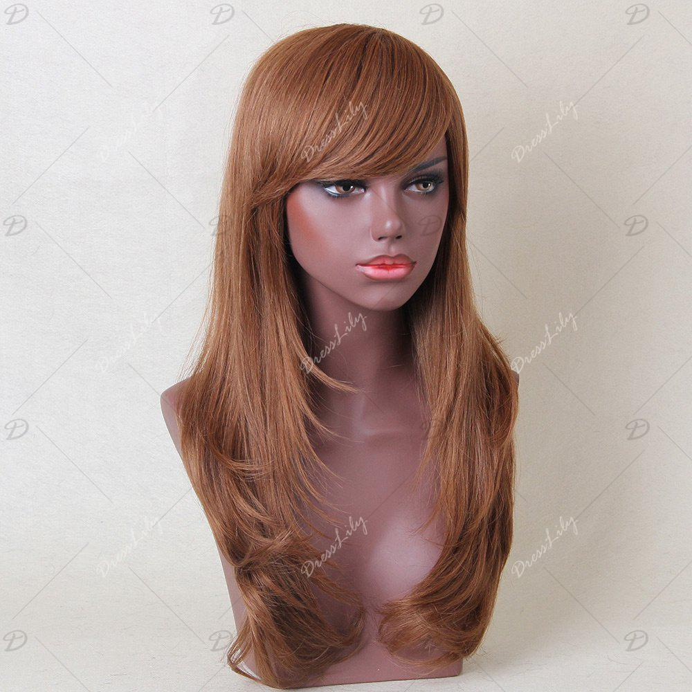 Long Inclined Bang Layered Tail Adduction Straight Human Hair Wig - AUBURN BROWN