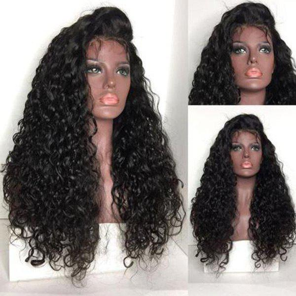 Free Part Shaggy Long Water Wave Lace Front Human Hair Wig - NATURAL BLACK