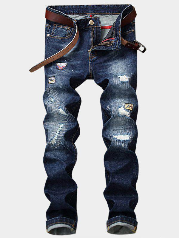 Zipper Fly Straight Leg Appliques Ripped Jeans thermal zipper fly straight leg jagger jeans