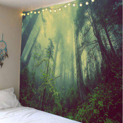Foggy Forest Waterproof Wall Tapestry - GREEN W79 INCH * L59 INCH