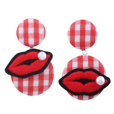 Faux Pearl Plaid Lips Embroidery Earrings - RED