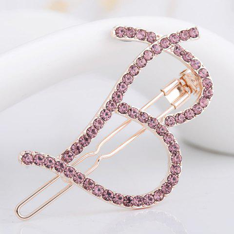 Letter B Shape Rhinestone Inlay Hairclip - SUEDE ROSE