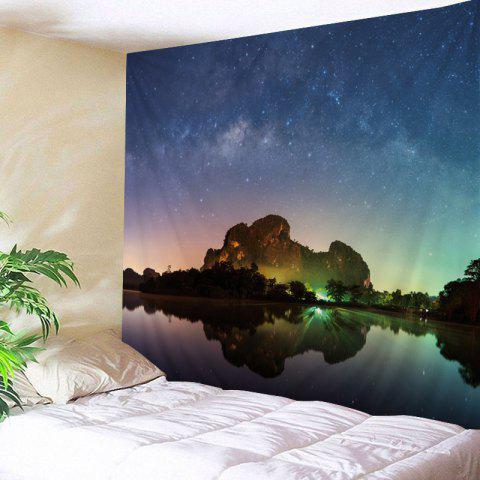 Wall Hanging Art Starry Night Lake Print Tapestry - COLORFUL W59 INCH * L51 INCH