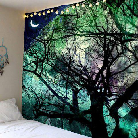 Moon Tree Wall Art Tapestry - LIGHT GREEN W79 INCH * L59 INCH
