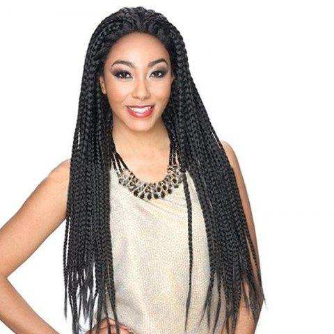 Long Lace Front Three Strand Box Braided Synthetic Wig - NATURAL BLACK