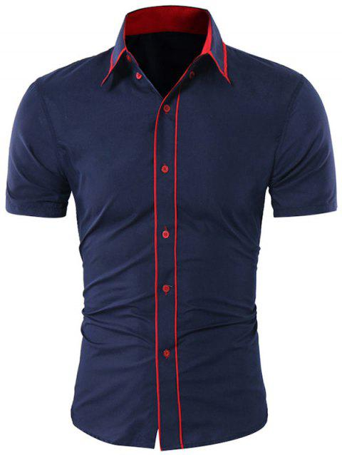 Contrast Trim Button Down Collar Shirt - CADETBLUE M