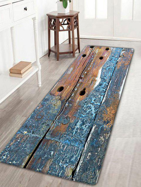 Retro Wood Grain Print Flannel Antiskid Rug - BLUE GRAY W16 INCH * L47 INCH