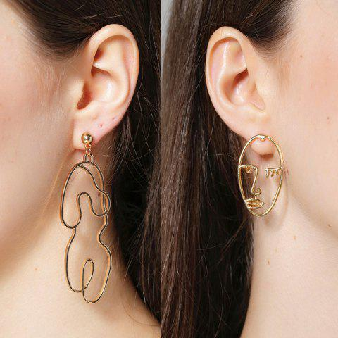 Graphic Asymmetric Face Drop Earrings - GOLDEN