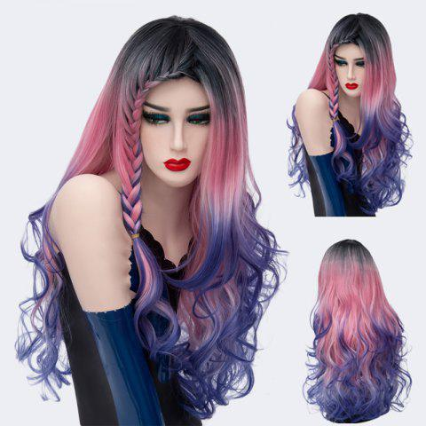 Long Colormix Side Braid Bang Layered Wavy Synthetic Wig - GRADUAL BLUE