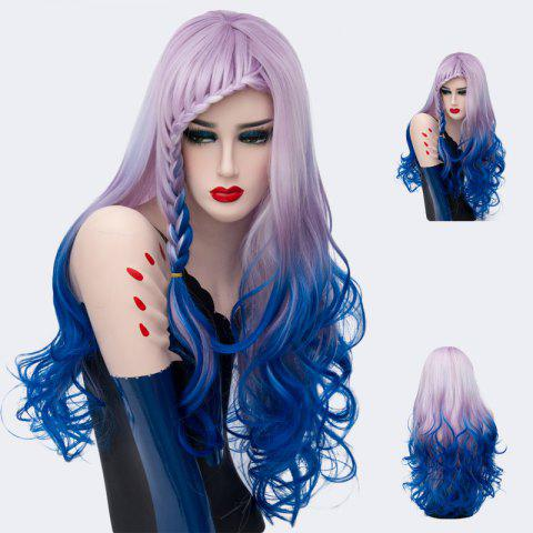 Long Colormix Side Braid Bang Layered Wavy Synthetic Wig - CERULEAN