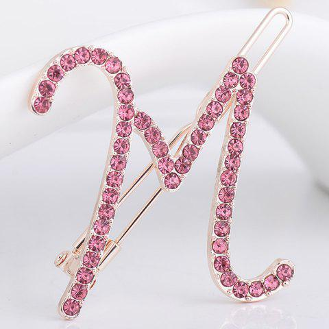 Rhinestones Letter M Shape Hair Clip - SHALLOW PINK