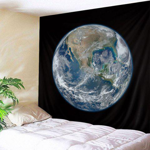 Wall Hanging Art Earth Planet Print Tapestry - BLACK W79 INCH * L59 INCH