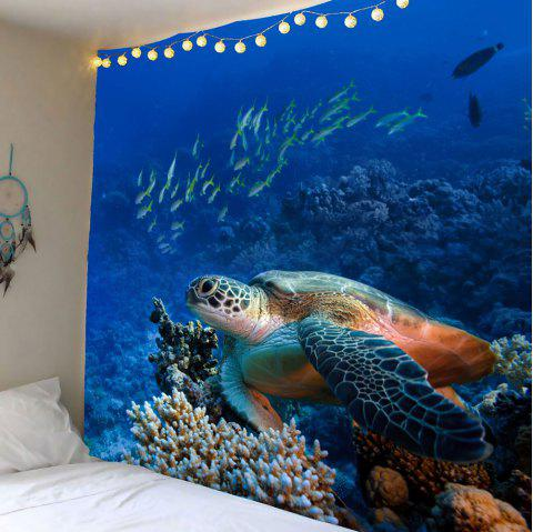 Turtle Ocean Fish Wall Tapestry - BLUE W71 INCH * L71 INCH