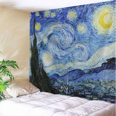 Wall Hanging Watercolor Space Throw Tapestry - BLUE W71 INCH * L79 INCH