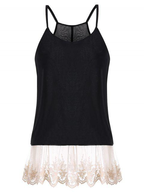 Laced Chiffon Cami Top - BLACK M
