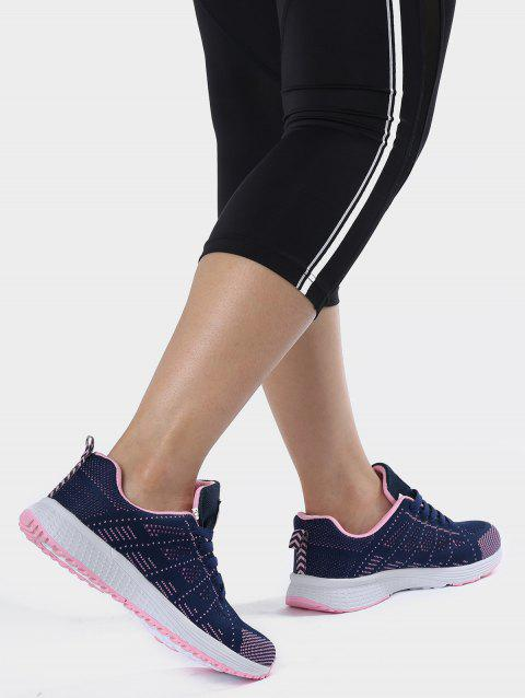 Mesh Eyelet Embroidery Athletic Shoes - DEEP BLUE 39