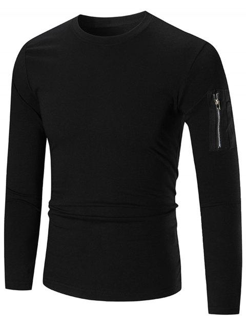 Zip Shoulder Stretch Long Sleeve T-shirt - BLACK L