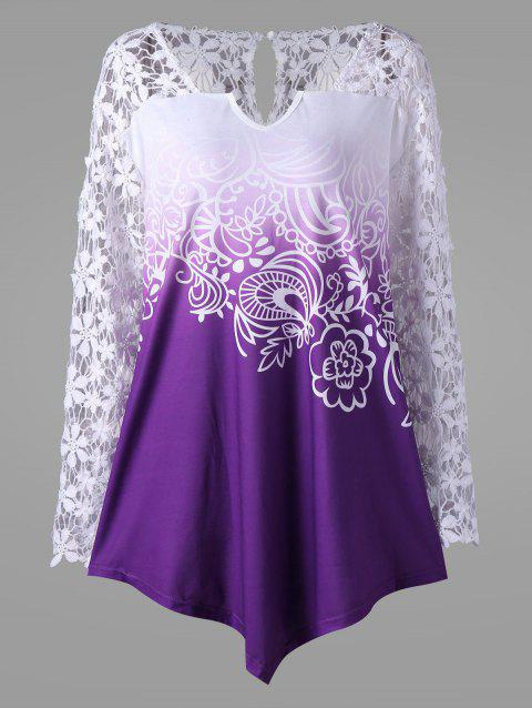 6434abccc2f6 LIMITED OFFER  2019 Plus Size Lace Yoke Ombre Top In PURPLE 5XL ...