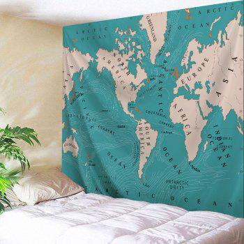 World Map Polyester Fabric Wall Art Tapestry