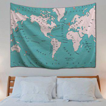 World Map Polyester Fabric Wall Art Tapestry - LAKE BLUE W59 INCH * L79 INCH