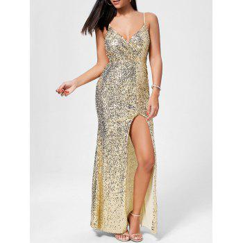 High Slit Long Sequin Evening Dress