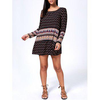 Printed Long Sleeve Mini T-Shirt Dress