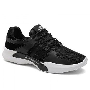 Suede Insert Tie Up Breathable Athletic Shoes - BLACK BLACK