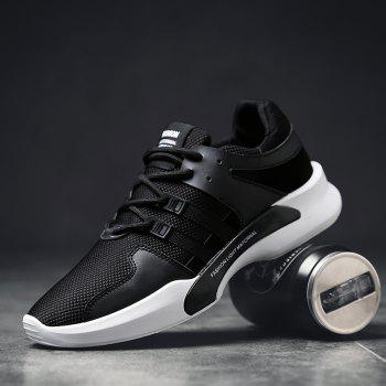 Suede Insert Tie Up Breathable Athletic Shoes - 44 44