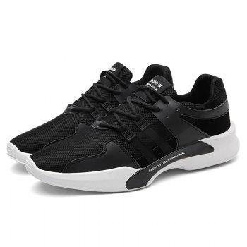 Suede Insert Tie Up Breathable Athletic Shoes - BLACK 44