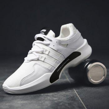 Suede Insert Tie Up Breathable Athletic Shoes - WHITE 42