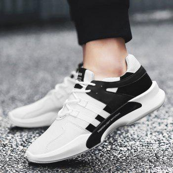 Suede Insert Tie Up Breathable Athletic Shoes - BLACK WHITE 43