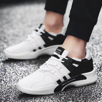 Suede Insert Tie Up Breathable Athletic Shoes - BLACK WHITE 41