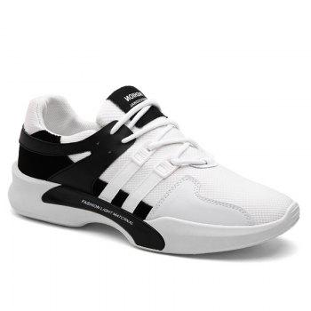 Suede Insert Tie Up Breathable Athletic Shoes - BLACK WHITE 42