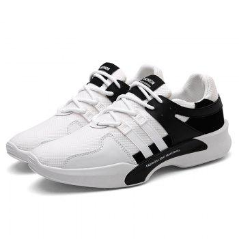 Suede Insert Tie Up Breathable Athletic Shoes - 40 40