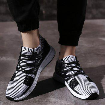 Striped Pattern Lace Up Breathable Casual Shoes - WHITE/BLACK 41
