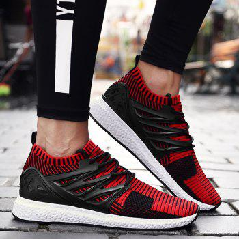 Striped Pattern Lace Up Breathable Casual Shoes