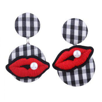 Faux Pearl Plaid Lips Embroidery Earrings